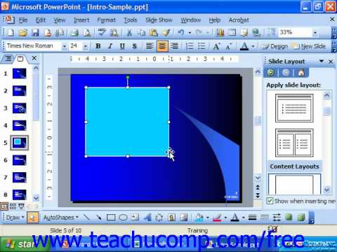 PowerPoint 2003 Tutorial Inserting Rectangles & Ovals Microsoft Training Lesson 19.4