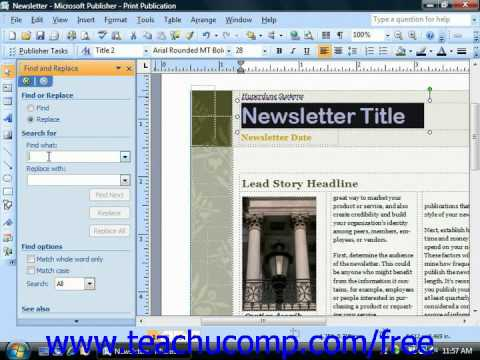 Publisher 2003 Tutorial Using Find & Replace Microsoft Training Lesson 4.13