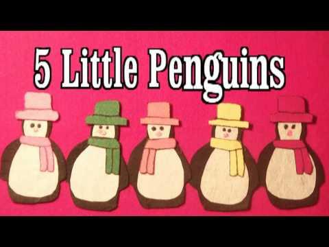Winter Preschool Songs - 5 Little Penguins song - Littlestorybug