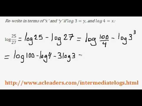 Re-writing an expression with Logarithms - (intermediate log questions pt. 6 of 6)