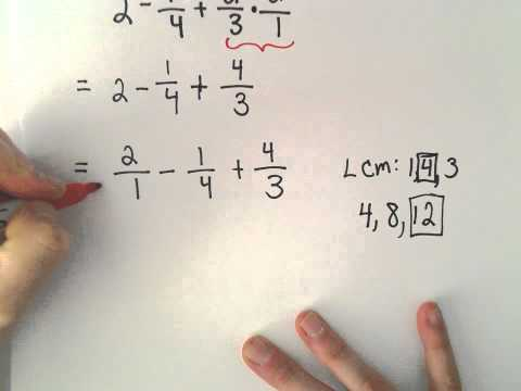 The Order of Operations With Fractions and Decimals, Ex 1