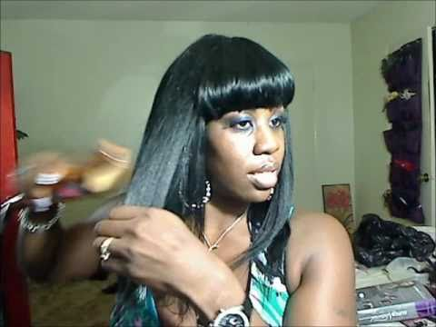 How to: Make a Quick Weave Wig with Straight Bangs Part II (MsChanda's Method)