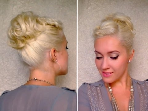 Curly updo hairstyle for short hair Twisted bangs ponytail Cute medium length layered hair tutorial
