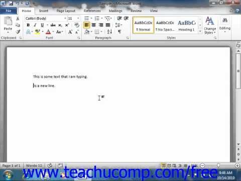 Word 2010 Tutorial Entering Text Microsoft Training Lesson 2.8