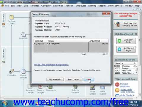 QuickBooks 2011 Tutorial Paying Bills Intuit Training Lesson 12.3