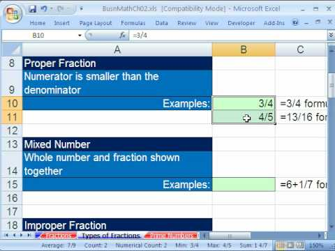 Excel Busn Math 16: Fractions & Fraction Formatting