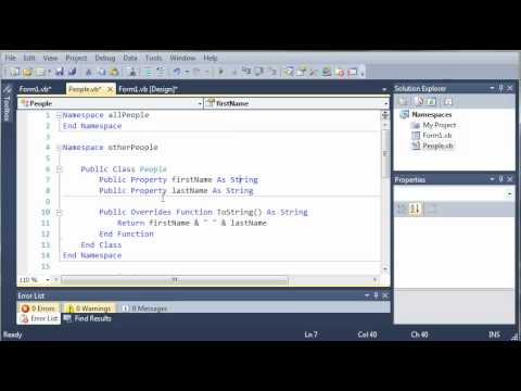 Visual Basic Tutorial - 105 - More On Nested Namespaces