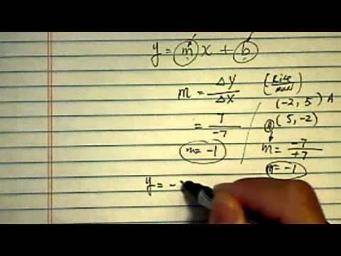 Equation of a Line:  given points (-2,5) (5, -2)
