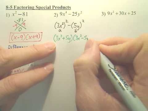 8.5 Factoring Special Products - Algebra 1