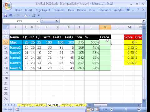 Excel Magic Trick #194: Grade Book Based on Percentages