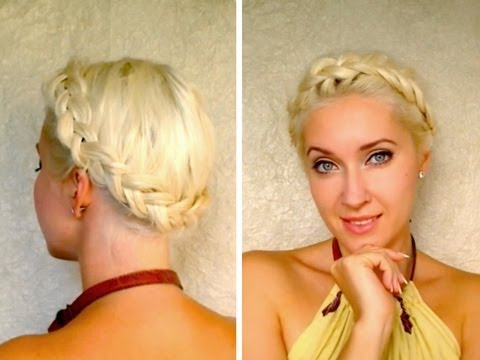 Dutch crown braid tutorial for medium long hair How to do milkmaid braids updo hairstyle