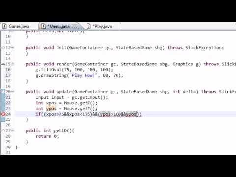 Java Game Development with Slick - 12 - How to Change States