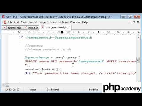 PHP Tutorials: Register & Login: User password change (Part 3)