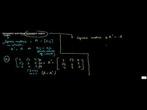 875. Class XI CBSE Math, ICSE Class XI Math - Symmetric and Skew Symmetric matrix