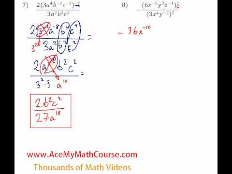 Exponents - Simplifying Expressions #7-8