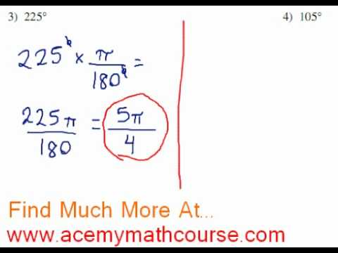 Trigonometry - Degrees to Radians Conversion (Part 2)