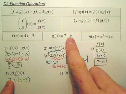 7.6a Function Operations - Algebra 2