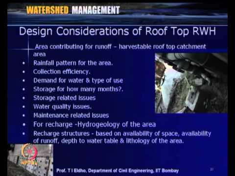 Mod-03 Lec-11 Rainwater Harvesting & Roof Catchment System