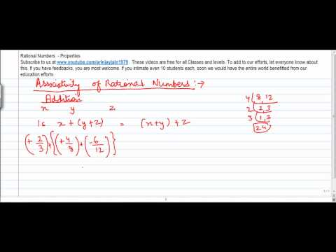 1367. Mathematics   Class VIII   Properties of Rational No  Associativity of Addition
