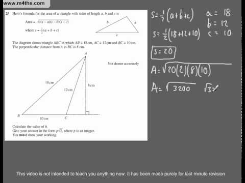 (Q42) A Star GCSE Revision Exam Style Questions Area of triangle