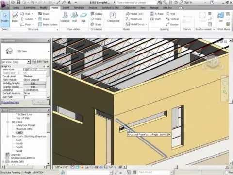 InfiniteSkills Tutorial | Revit Structure 2012 Training - Adding Bracing