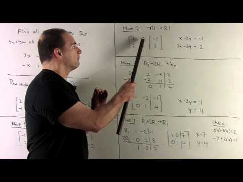Row Reduction for a System of Two Linear Equations