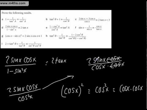 Typical core 2 Harder Trig Identities using only Core 2 skills