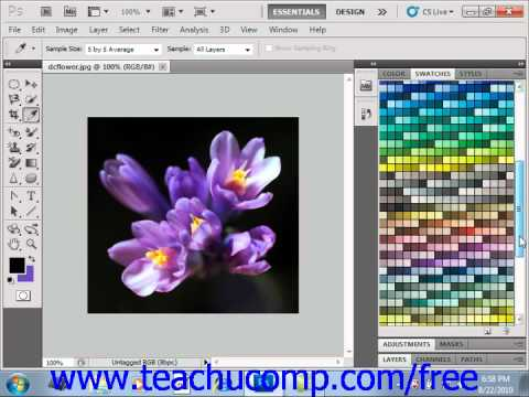 Photoshop CS5 Tutorial Selecting Colors with the Swatches Panel Adobe Training Lesson 4.9