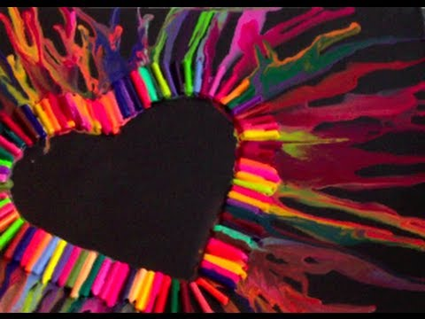 DIY: Melted Crayon Heart Art - 14 Days of Valentine DIY's --DAY ONE