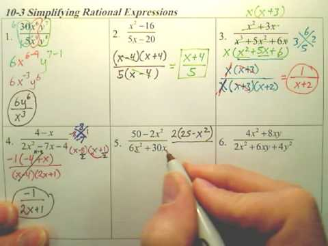 Algebra 1  - 10-3 Simplifying Rational Expressions page 2