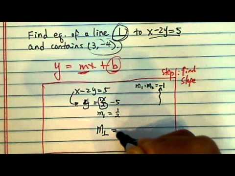 How to find an equation of a line?? (given a perpendicular line and a point)