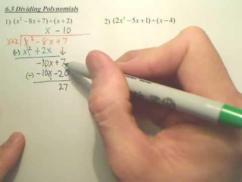 6.3 Dividing Polynomials - Algebra 2