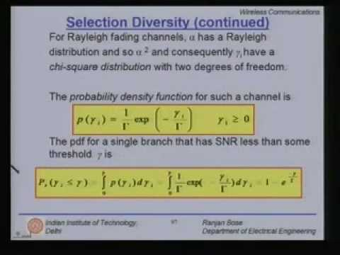 Lecture - 31 Equalization and Diversity Techniques (Contd.)