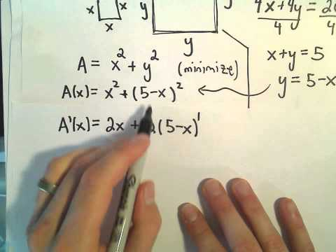 Optimization Problem #7 - Minimizing the Area of Two Squares With Total Perimeter of Fixed Length