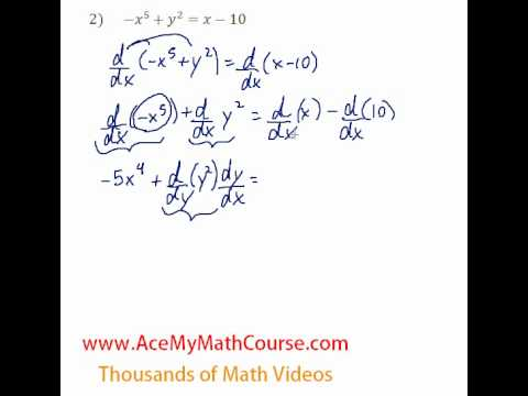 Derivatives - Implicit Differentiation Question #2