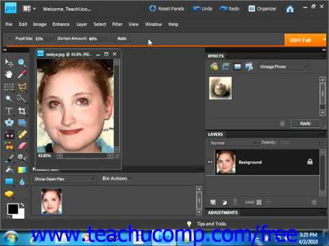 Photoshop Elements 9.0 Tutorial The Red Eye Removal Tool Adobe Training Lesson 14.2