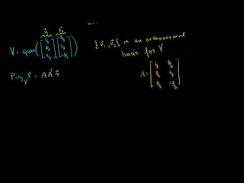 Lin Alg: Finding projection onto subspace with orthonormal basis example