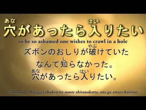 Japanese Idiom 穴があったら入りたい to be so ashamed, one wishes to crawl in a hole