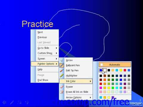 PowerPoint 2003 Tutorial Setting Pointer Options Microsoft Training Lesson 14.2