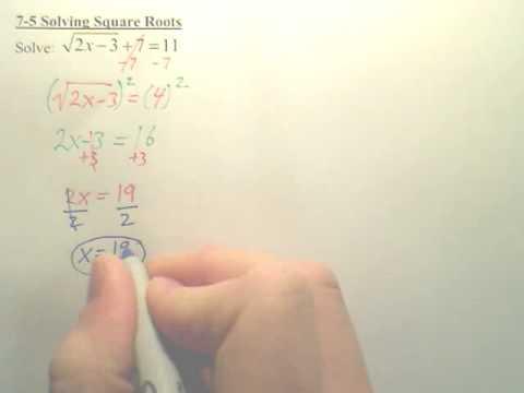 7-5 Solving Radicals - Algebra 2