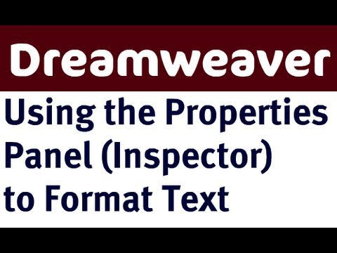Using Text Properties in Dreamweaver