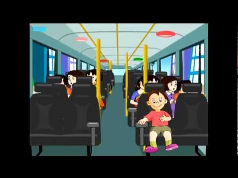 The wheels of the bus go round and round -animated cartoon nursery rhymes with music