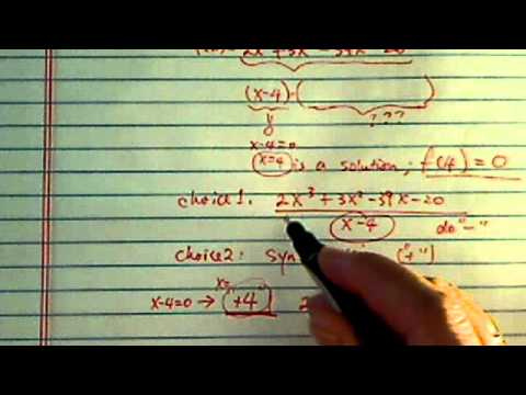 Zeros of polynomials: If f(4)=0, find the other zeros of f(x)=2x^3+3x^2-39x-20