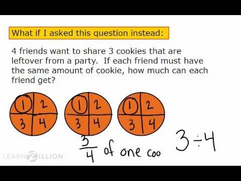 Solve division problems that result in fractions using pictures - 5.NF.3