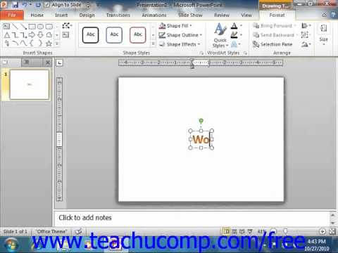 PowerPoint 2010 Tutorial Inserting WordArt-2010 Only Microsoft Training Lesson 11.4