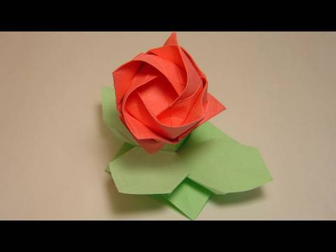 Origami leaves and support - Kawasaki Rose