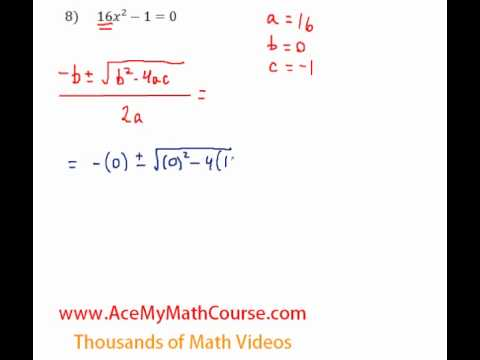 Quadratic Formula - Question #8