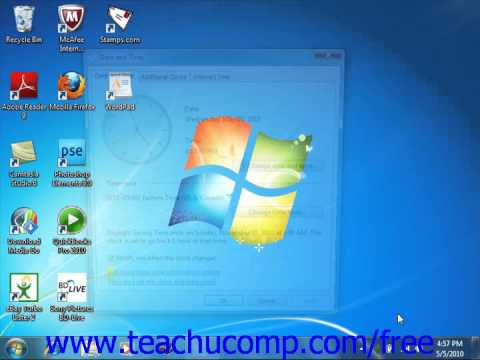 Windows 7 Tutorial Setting the Date & Time Display Microsoft Training Lesson 3.2