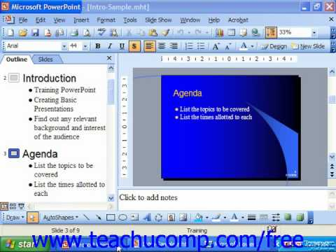 PowerPoint 2003 Tutorial Normal View 2003, XP, & 2000 Microsoft Training Lesson 4.1
