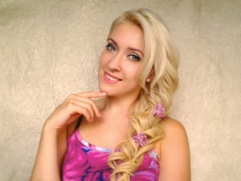 Romantic hair tutorial Cute prom hairstyle for long hair with soft side swept curls braid look